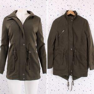 Jackets & Blazers - High Neck Anorak Fleece Coat Jacket Olive